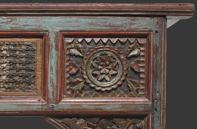 Balinese bed hand carved floral detail