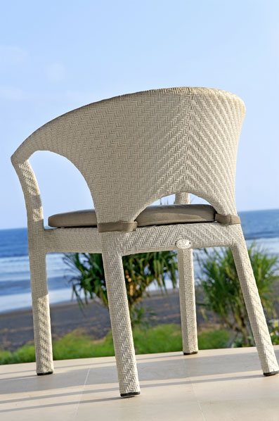 White synthetic rattan chair